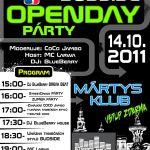 Plakát na Openday párty s BUDSIDE